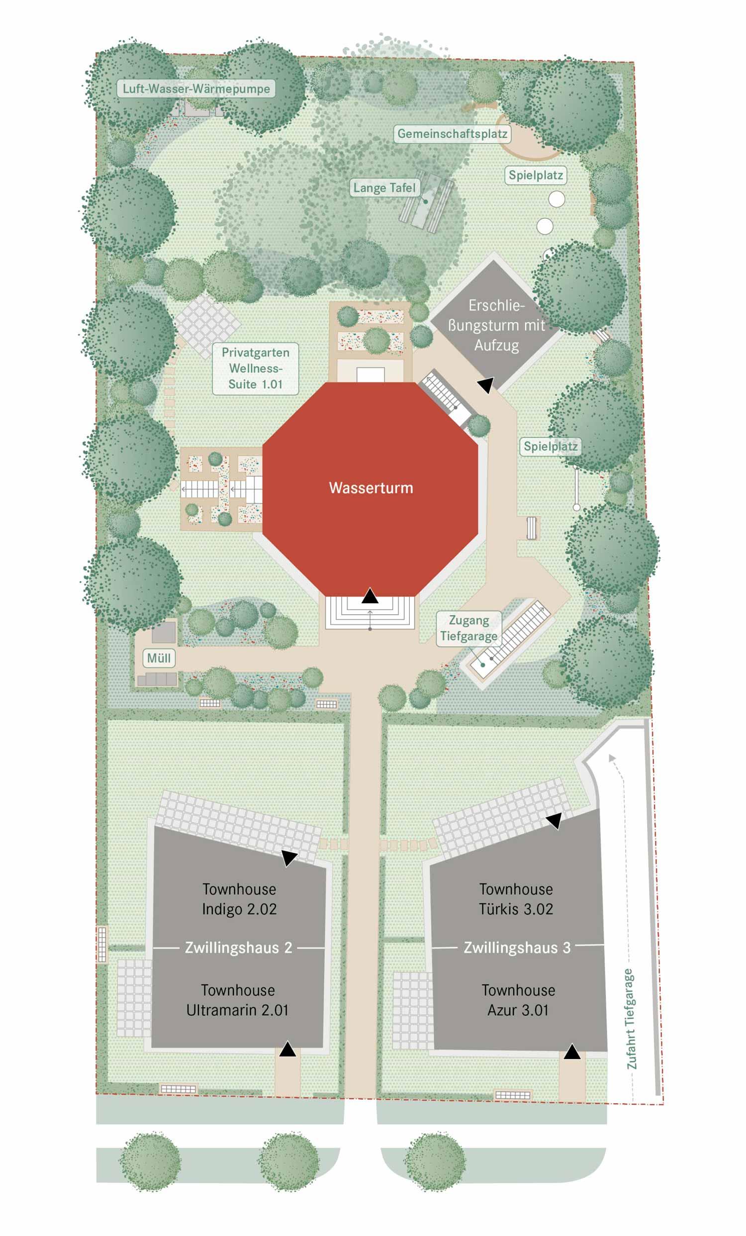 Wahrzeichen Gartenplan Wasserturm